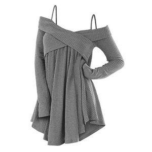 Dressfo 3XL Open Shoulder Crisscross Tunic Sweater